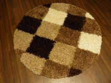 SHAGGY NEW 120X120CM CIRCLE RUGS WOVEN BACK CREAM/BROWN/BEIGE CHECK THICK
